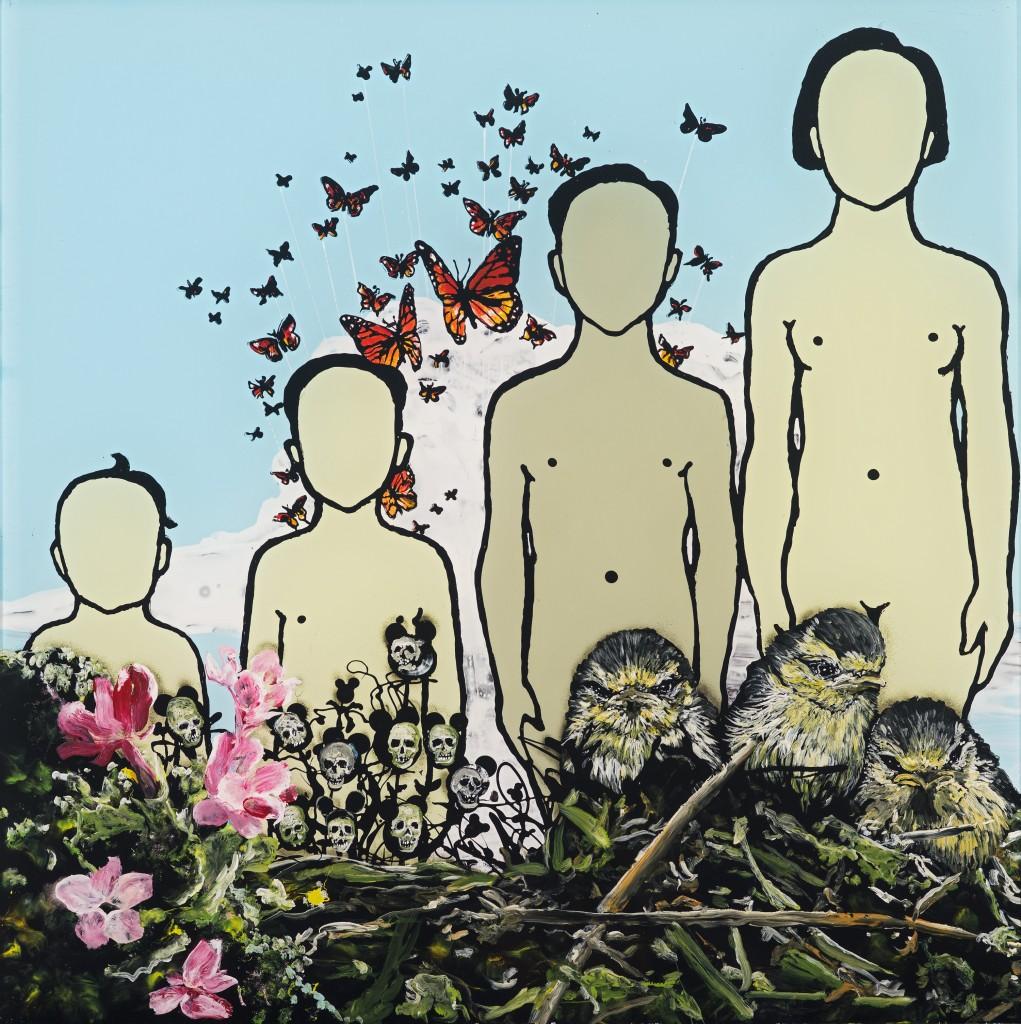 Wolf Hamm, In jedem von uns ist auch ein anderer-Die Jugend, acrylic behind acrylic glass, 50 x 50, 2014